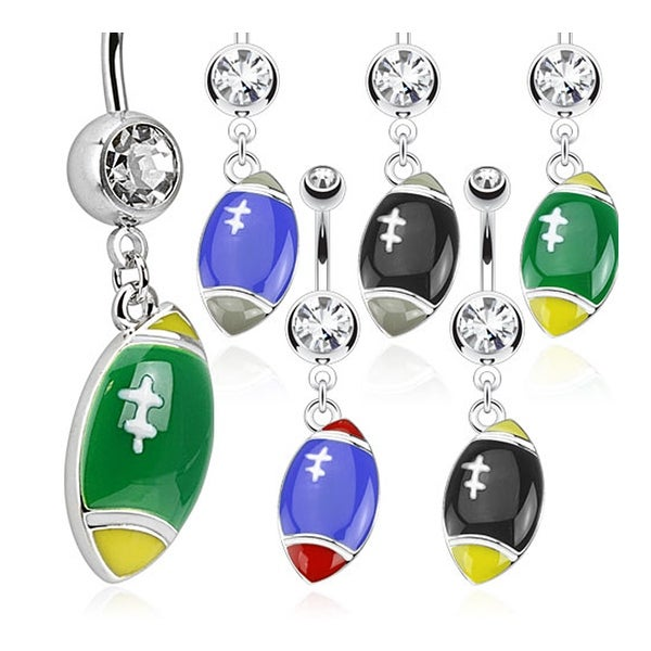 Football Dangle Multi Colored 316L Surgical Steel Navel Belly Button Ring with (Sold Ind.)