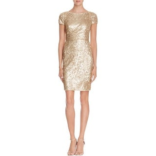 Adrianna Papell Womens Cocktail Dress Sequined Short Sleeves