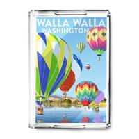Walla Walla, Washington - Hot Air Balloons - Lantern Press Artwork (Acrylic Serving Tray)