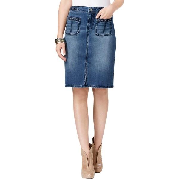 Earl Jean Womens Pencil Skirt Denim Braided