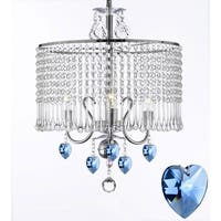 Contemporary 3-light Crystal Chandelier With Crystal Shade and Blue Crystal Hearts