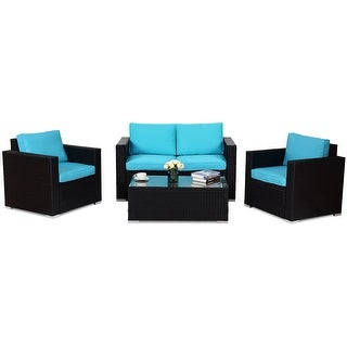 4PC Rattan Patio Furniture Set Outdoor Wicker With Blue Cushion - Blue