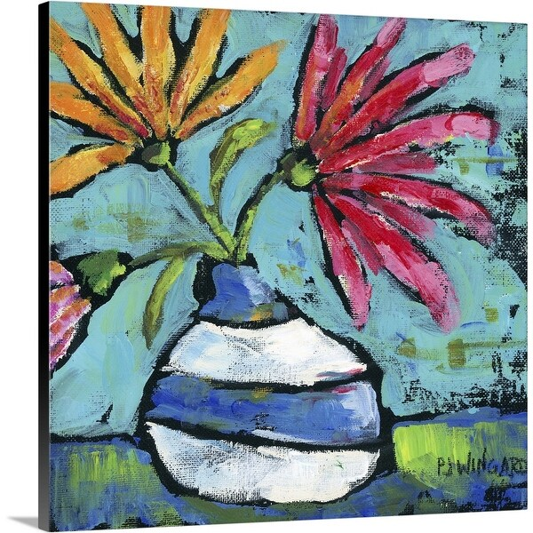 """Striped Vase"" Canvas Wall Art"