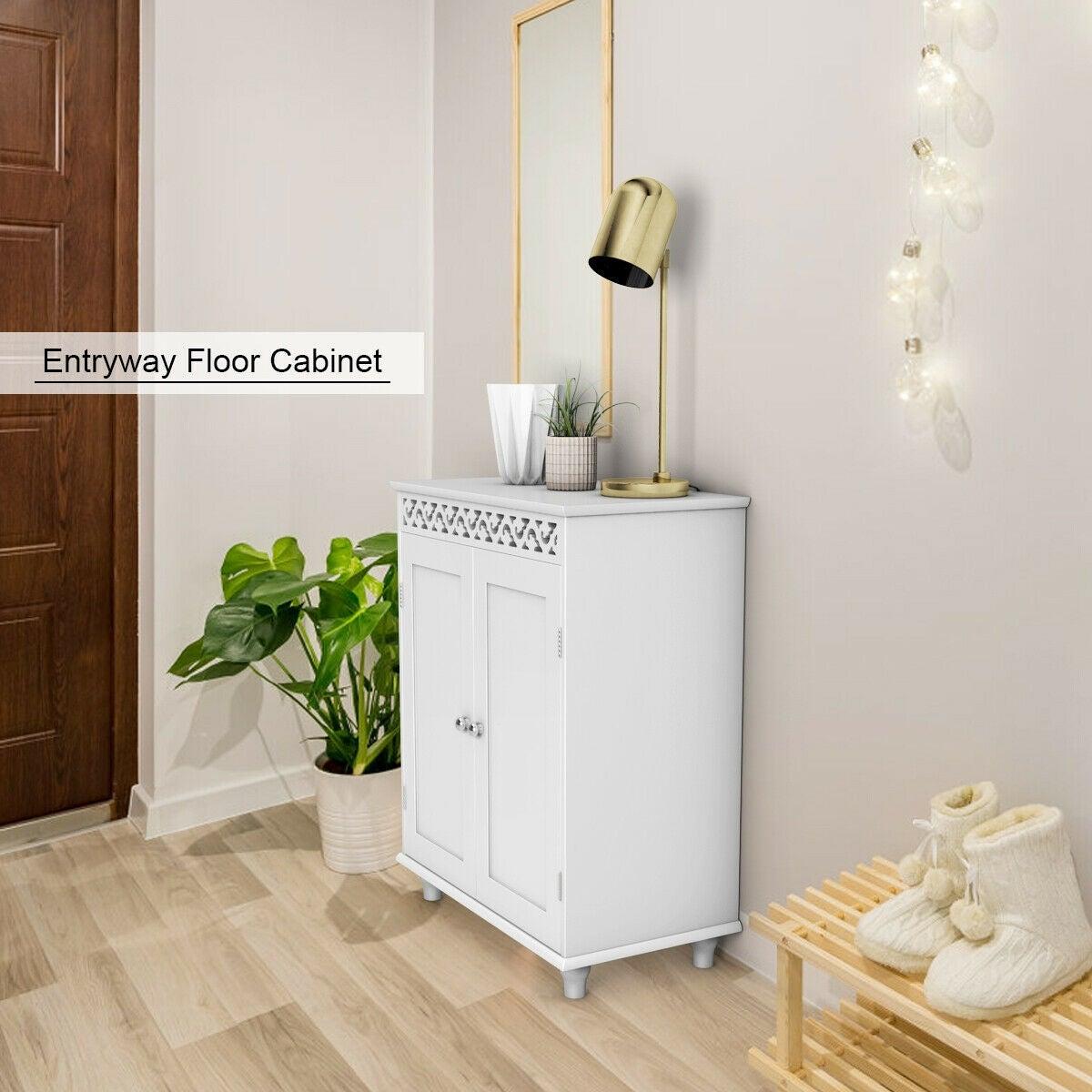 Gymax White Wooden 2 Door Bathroom
