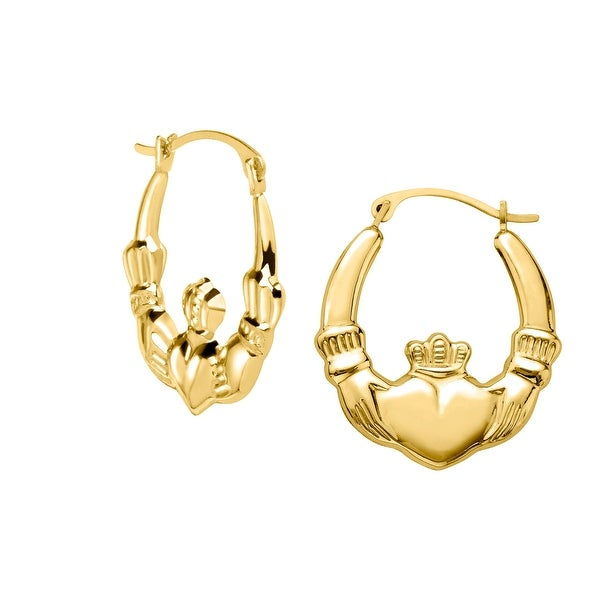 Just Gold Claddagh Hoop Earrings in 10K Gold - YELLOW