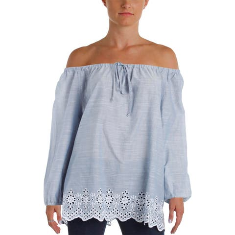 NYDJ Womens Casual Top Embroidered Pleated