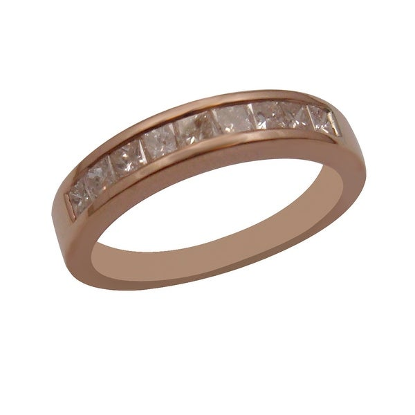 Brand New 0.68 Carat Channel Set Princess Cut Natural Diamond Anniversary Band, 14k Rose Gold