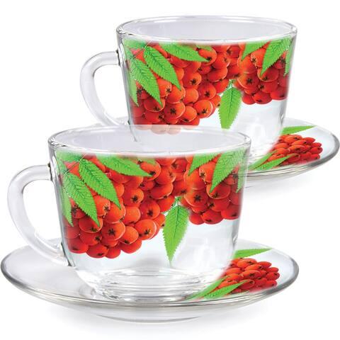 STP-Goods Rowanberry Durable Glass Tea Cup and Saucer Set of 2