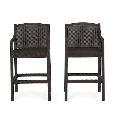 Marengo Outdoor Faux Wicker Outdoor Barstools by Christopher Knight Home