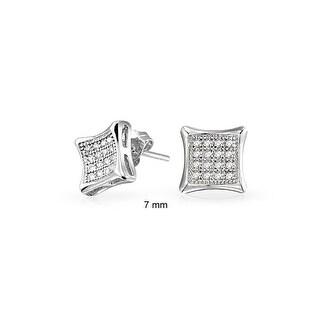 Bling Jewelry Men Kite Micro Pave CZ Stud earrings 925 Sterling Silver 7mm