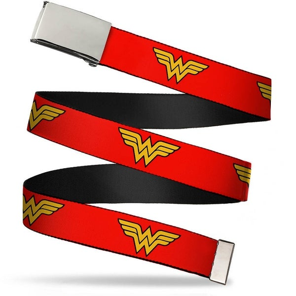 Blank Chrome Buckle Wonder Woman Logo Red Webbing Web Belt