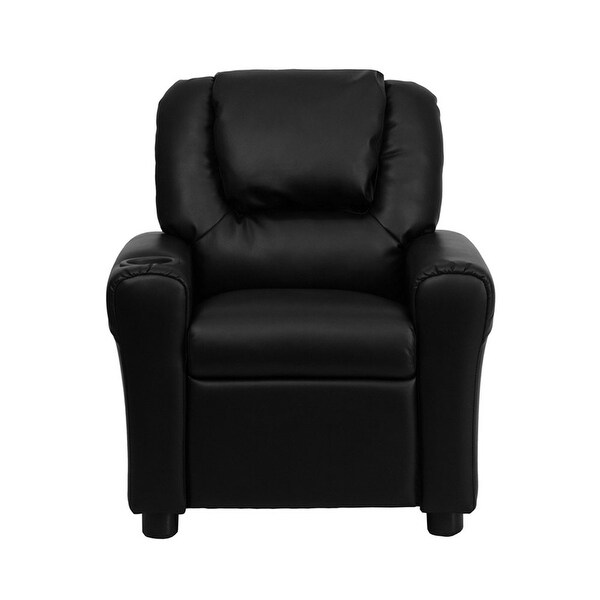 Shop Offex Contemporary Black Leather Kids Recliner With Cup Holder
