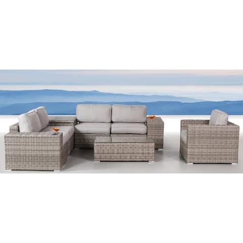 9 Piece Rattan Conversation Set with Cushions