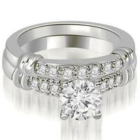 0.68 CT.TW Round Cut Diamond Engagement Set - White H-I