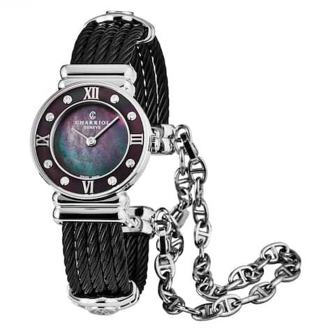 Charriol Women's 028SBD1.545.559 'St Tropez' Black Mother of Pearl Dial Black Stainless Steel Diamond Quartz Watch