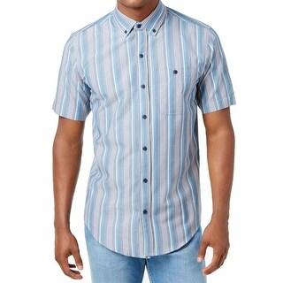 Ezekiel NEW Blue Striped Mens Size Large L Button Down Cotton Shirt
