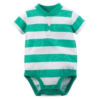 Carter's Baby Boys' Striped Henley Bodysuit, 18 Months - Multi-Colored
