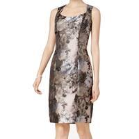 Kasper Pink Gray Womens Size 4 Metallic Floral Print Sheath Dress