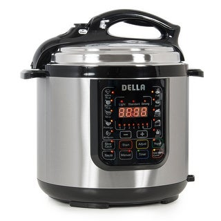 Della 1000W Programmable Electric Pressure Cooker with Steam Rack Measuring Cup, Spoon, Stainless Steel, 6-Quart