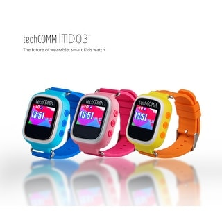 TechComm TD-03 GSM Unlocked Kids Smartwatch with GPS/ LBS Tracking, Pedometer, Sleep Monitor, Geofencing and Anti Take-Off Alarm