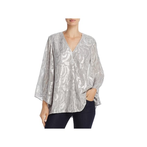 Elizabeth and James Womens Ariel Pullover Top Silk Metallic