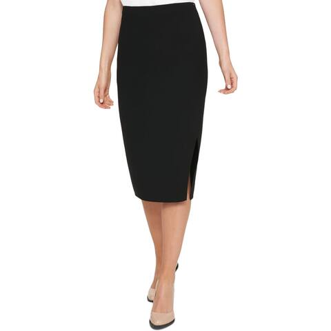 DKNY Womens Pencil Skirt Crossover Front Midi