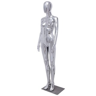 Costway Female Full Body Mannequin Plastic Abstract Egg Head Glossy w/base