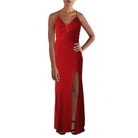 Cachet Womens Evening Dress Glitter Lace-Up - Garnet
