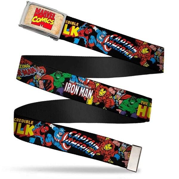 Marvel Comics Marvel Comics Logo Fcg Chrome Marvel Characters Stacked Web Belt