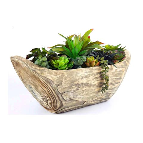 Plastic Fake Green Plant Wood Potted for Home Decor (21X9X13'')