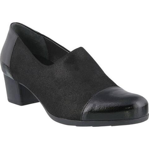 Spring Step Women's Evlynnette Pump Black Patent Leather/Textile