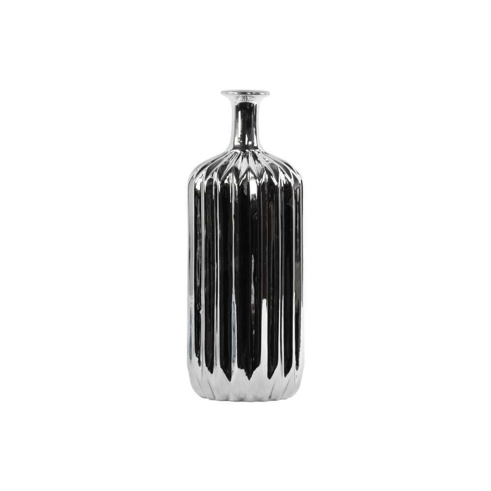 Ceramic Bottle Vase With Corrugated Belly, Silver