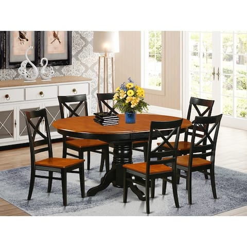 Avon Black/Cherry Finish Solid Rubberwood 7-piece Dining Set with Oval Table and 6 Chairs (Pieces Option)