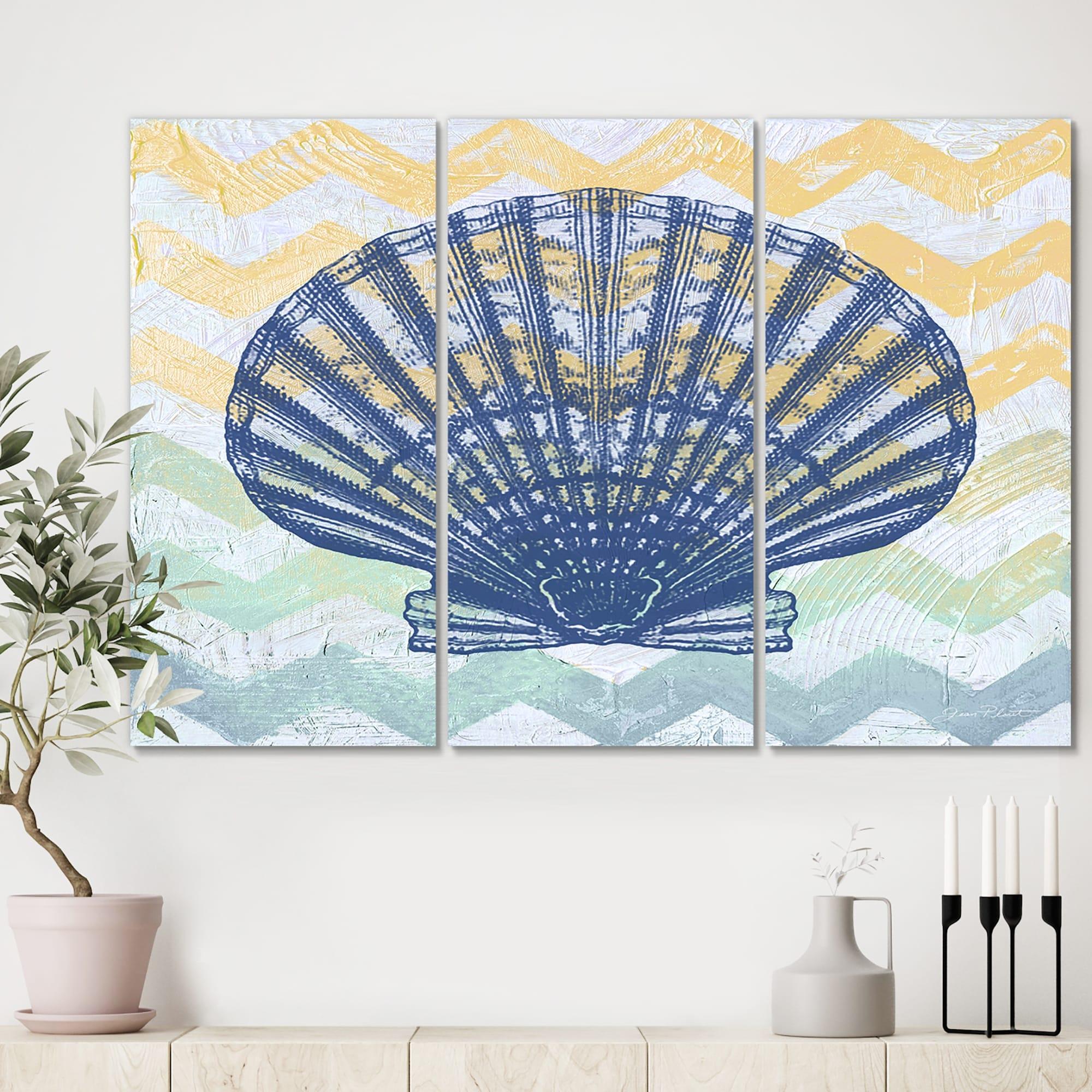 Designart Chevron Shell Nautical Coastal Canvas Wall Art 36x28 3 Panels On Sale Overstock 28456408