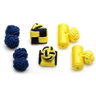 Wolverines Go Blue Silk Knot Combo Cufflinks
