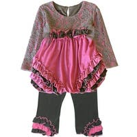 Isobella & Chloe Baby Girls Pink Grey Lace Ruffle Vanessa Pants Outfit 12-24M