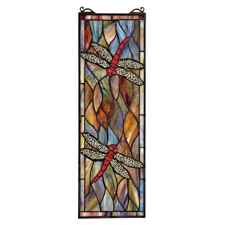 Design Toscano Tiffany Style Dragonfly Stained Glass Window