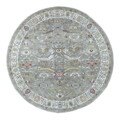 """Hand Knotted Grey Oushak And Peshawar with Wool Oriental Rug (7'9"""" x 7'10"""") - 7'9"""" x 7'10"""""""