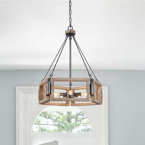 "Modern Farmhouse Antique Wood Chandelier 5-light Pendant Lighting Fixture for Dining Room - D 19.7"" * H 24.4"""