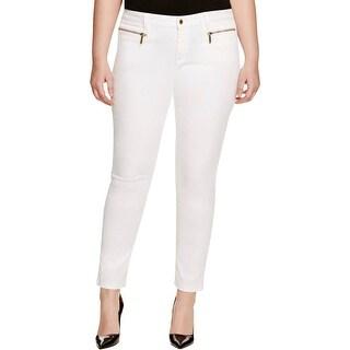 MICHAEL Michael Kors Womens Plus Ankle Jeans Mid-Rise Slim Leg