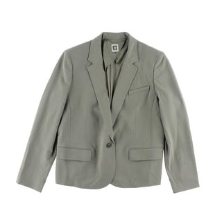 Anne Klein Womens Woven Lined One-Button Blazer
