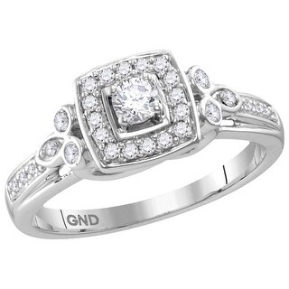10kt White Gold Womens Round Natural Diamond Round Halo Bridal Wedding Engagement Ring 1/3 Cttw