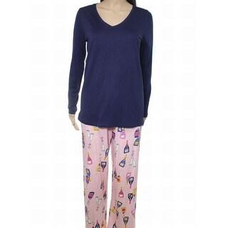 HUE NEW Navy Blue Pink Women's Size Large L Champagne Print Pajama Set