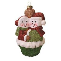 "5"" Merry & Bright Green, Red and White Shatterproof Snowman Couple Cupcake Christmas Ornament - green"