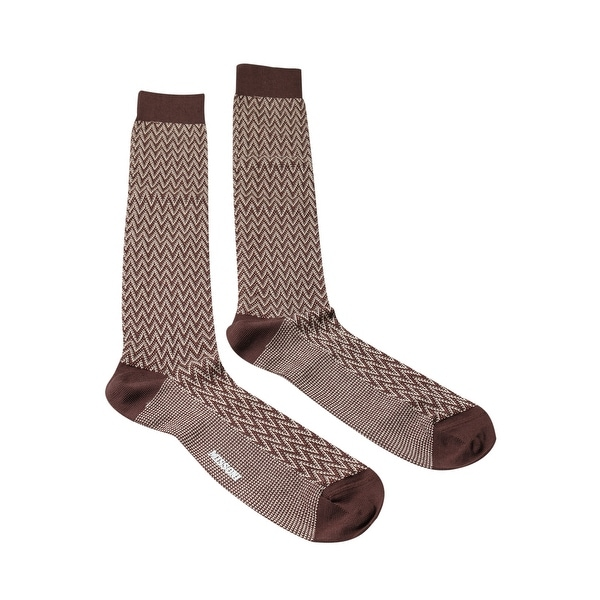 Missoni GM00CMU5240 0001 Brown/Cream Knee Length Socks