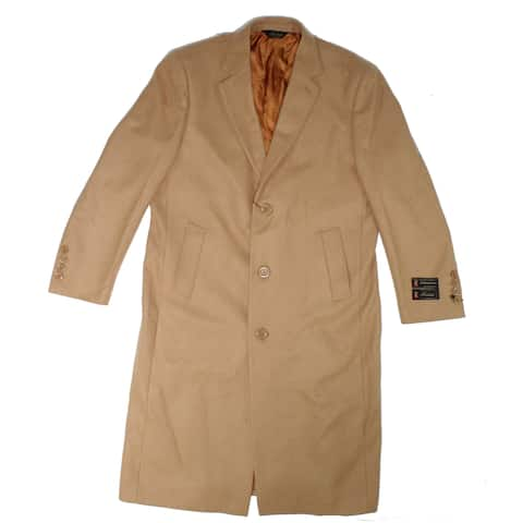 Fortini Mens Trench Coat Camel Beige Size 42R Long Wool 3-Button