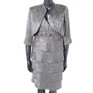 R & M Richards Womens Jaquard Tiered Dress With Jacket - 16