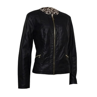 Charter Club Women's Quilted Panel Moto Faux Leather Jacket