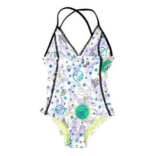 Azul Girls Lilac Floral Sassy Does It Triangle One Piece Swimsuit (4 options available)