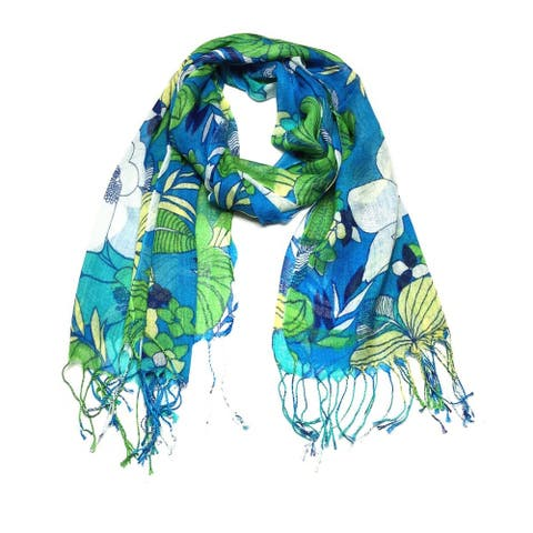 Women's Fashion Floral Soft Wraps Scarves - F10 Green Blue - Large